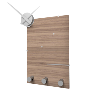 Picture of CALLEA DESIGN OSCAR STYLISH WALL CLOCK AND COAT RACK IN BLACK WALNUT COLOUR