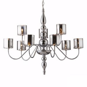 Picture of IDEAL LUX DUCA PENDANT LAMP CHROME AND GLASS SP9 9 ARMS