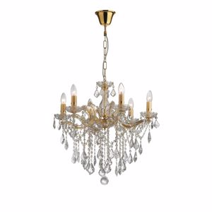 Picture of IDEAL LUX FLORIAN CRYSTAL PENDANT LAMP SP6 GOLD