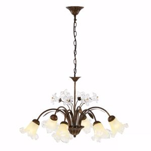 Picture of IDEAL LUX TIROL SP6 PENDANT LAMP 6 ARMS HAND DECORATED