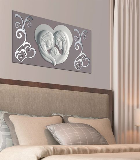 Picture of MEMORY ART ABOVE BED SACRED FAMILY DOVE GREY