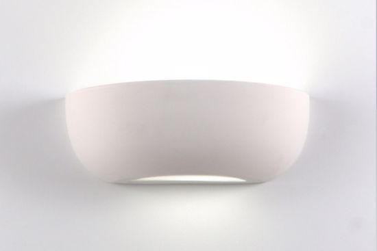 Picture of CERAMIC WALL LIGHT WITH LIGHT CUTTING L32 CM PAINTABLE PLASTER EFFECT ISYLUCE
