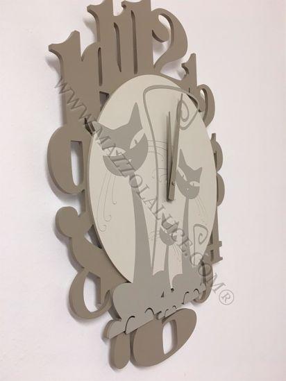 Picture of CALLEA DESIGN 3 CATS MODERN WALL CLOCK DOVE GREY