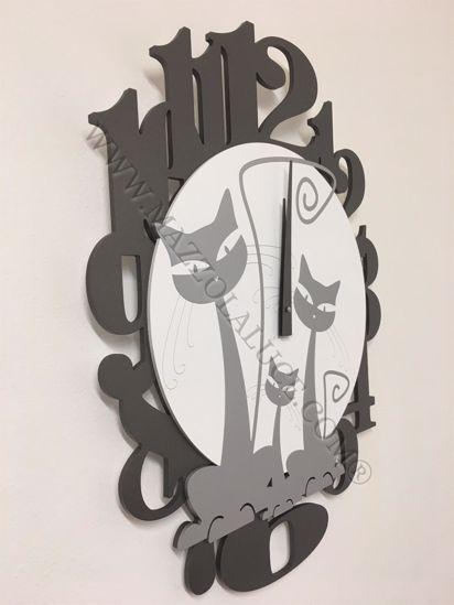 Picture of CALLEA DESIGN 3 CATS MODERN WALL CLOCK ALUMINIUM
