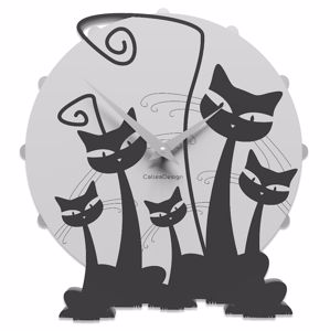 Picture of CALLEA DESIGN MODERN WALL CLOCK WITH 3 CATS BLACK