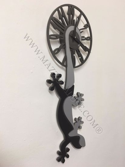 Picture of CALLEA DESIGN HANGING GECKO MODERN WALL CLOCK BLACK