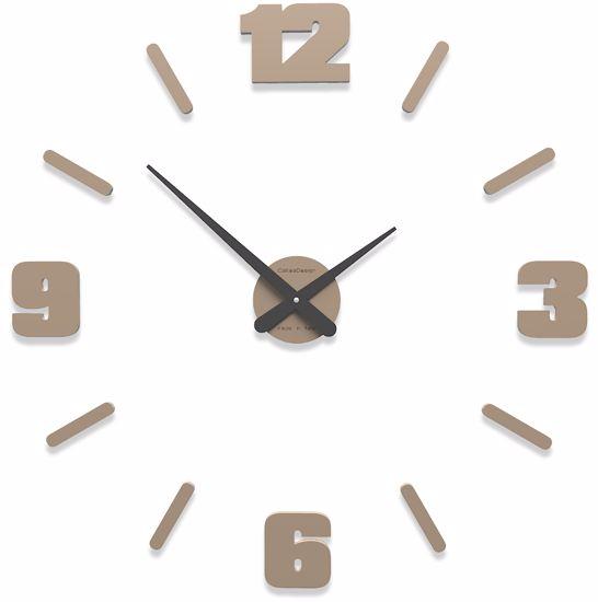 Picture of CALLEA MICHELANGELO MODULAR WALL STICKER CLOCK WHITE COFFEE COLOURED