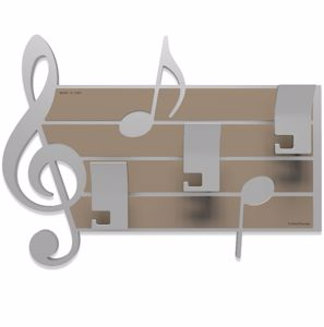 Picture of CALLEA DESIGN PUCCINI COAT HOOKS NOTES AND TREBLE CLEF DOVE GREY AND ALUMINIUM