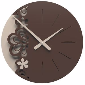 Picture of CALLEA BIG MERLETTO WALL CLOCK Ø45 IN CHOCOLATE COLOUR