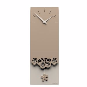Picture of CALLEA DESIGN MERLETTO PENDULUM WALL CLOCK ORIGINAL DESIGN IN CAFFELATTE COLOUR