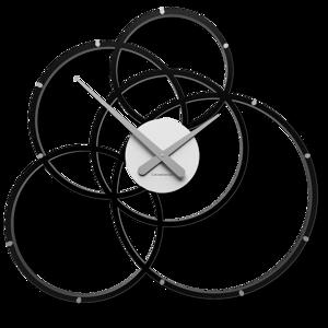 Picture of CALLEA DESIGN BLACK HOLE OROLOGIO DA PARETE NERO E GRIGIO MODERNO CERCHI IN LEGNO