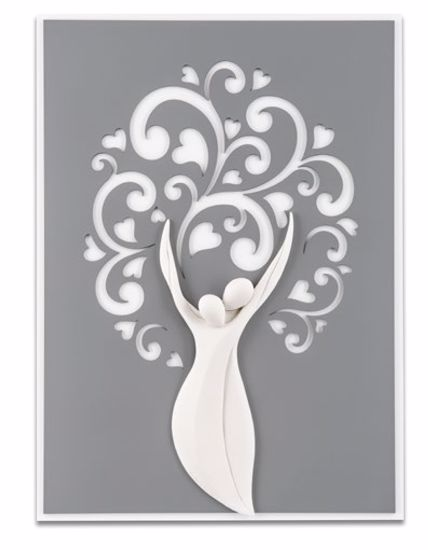 Picture of WALL ART 42X58 TREE OF LIFE LOVE GREY BACKGROUND WITH HEARTS