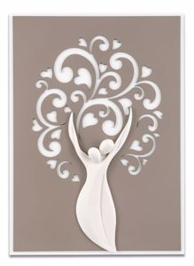 Picture of WALL ART 42X58 TREE OF LIFE LOVE DOVE GREY BACKGROUND WITH HEARTS