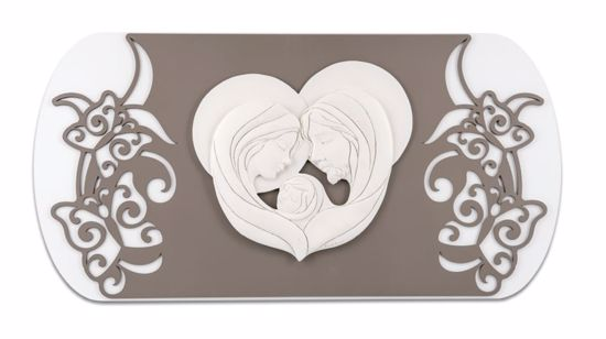 Picture of MEMORY ART ABOVE BED HOLY FAMILY DOVE GREY BACKGROUND WITH BUTTERFLIES