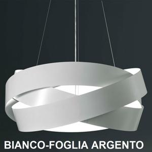 Picture of MARCHETTI PURA LAMPADARIO MODERNO 60CM 3XE27 BIANCO E FOGLIA ARGENTO