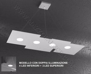 Picture of LAMPADARIO MODERNO PER SOGGIORNO GRIGIO DOPPIA ILLUMINAZIONE LED