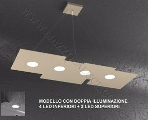 Picture of TOP LIGHT PLATE LAMPADARIO CUCINA TORTORA LED GX53 DOPPIA ILLUMINAZIONE