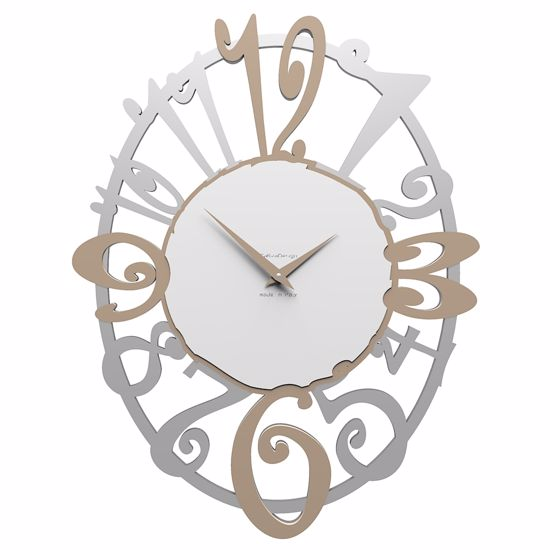 Picture of CALLEA DESIGN MERLETTO WALL CLOCK OVAL-SHAPED IN CAFFELATTE COLOUR