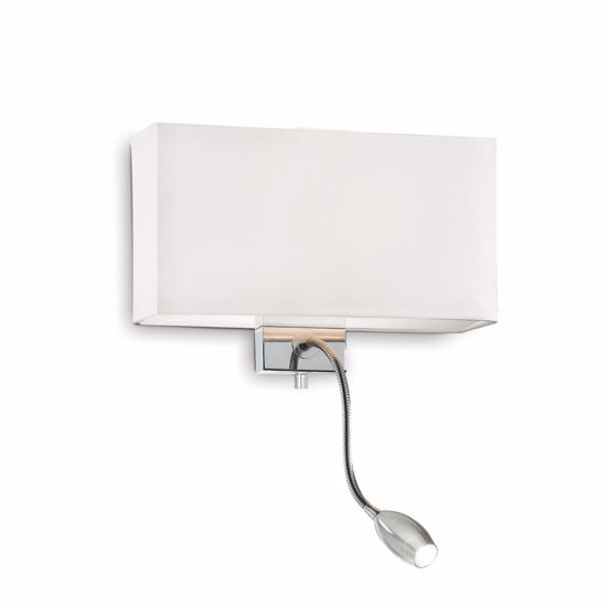 Picture of IDEAL LUX HOTEL AP2 WHITE FABRIC WALL LAMP WITH READING LED LIGHT