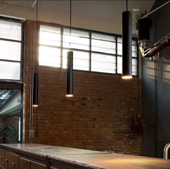 Picture of WHITE KITCHEN ISLAND PENDANT LIGHT CYLINDER DIRECT EMISSION IDEAL LUX LOOK SP1