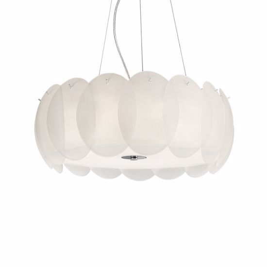 Picture of IDEAL LUX OVALINO SP8 MODERN DESIGN PENDANT LIGHT WHITE GLASS