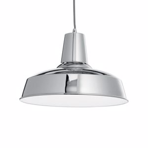 Picture of IDEAL LUX MOBY SP1 CHROME SUSPENSION  DOME BELL IN METAL CHROME
