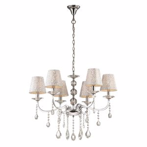 Picture of IDEAL LUX PANTHEON PENDANT LAMP WITH SHADES SP6 6ARMS CHROME