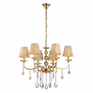 Picture of IDEAL LUX PANTHEON PENDANT LAMP WITH SHADES SP6 6ARMS GOLD