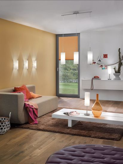 Picture of MODERN WALL LIGHT SATIN WHITE GLASS AND NICKEL STEEL