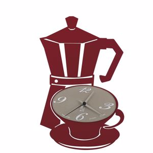 Picture of ARTI E MESTIERI MOKKAP WALL CLOCK MOKA SHAPE RED COLOUR