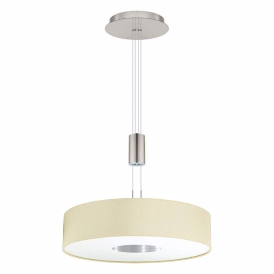 Picture of MODERN PENDANT LED LIGHT Ø53 WHITE LINEN FABRIC LAMPSHADE