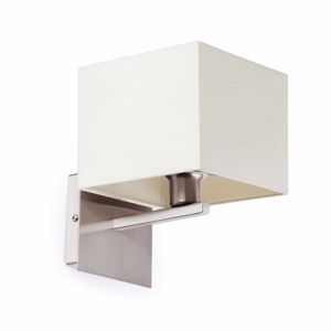 Picture of MODERN WALL LIGHT WITH SQUARED WHITE FABRIC LAMPSHADE