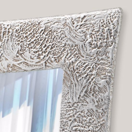 Picture of PINTDECOR VEGA ORIGINAL WALL MIRROR HAND-DECORATED WITH EMBOSSED SILVER FOIL DETAILS HORIZONTAL/VERTICAL HANGING