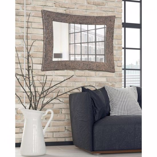 Picture of PINTDECOR SIRIO MODERN WALL MIRROR HAND-DECORATED WITH EMBOSSED RUST COLOURED DETAILS