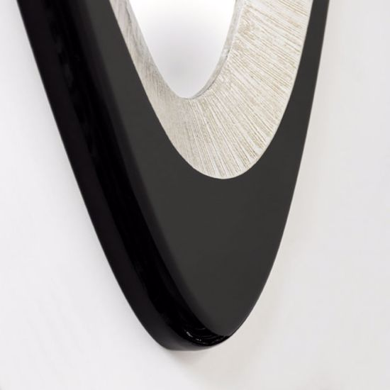 Picture of PINTDECOR GEMMA WALL MIRROR GEM-SHAPED COFFEE LACQUERED AND SILVER FOIL DETAILS HORIZONTAL/VERTICAL HANGING