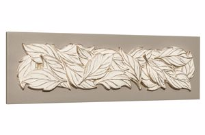 Picture of PINTDECOR FOGLIE D'ESTATE WALL ART IVORY SUMMER LEAVES ON DOVE GREY CANVAS EMBOSSED DETAILS