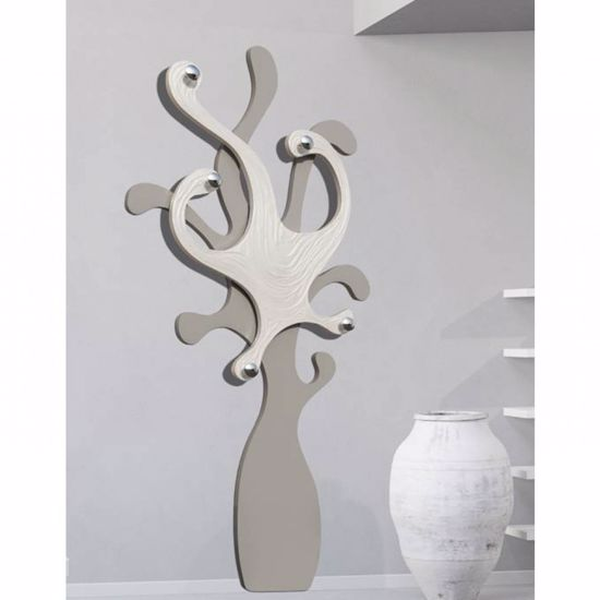 Picture of PINTDECOR PIOVRA BIANCA ORIGINAL COAT HANGER WHITE AND DOVE-GREY OCTOPUS-SHAPED WITH PEARLY DETAILS