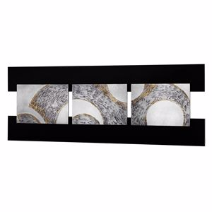 Picture of PINTDECOR TRIS ABSTRACT WALL ART DOUBLE FRAMES 3  PANELS WITH EMBOSSED SILVER FOIL DETAILS