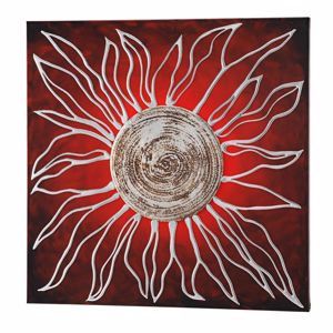 Picture of PINTDECOR SOLE ROSSO WALL ART HAND-DECORATED EMBOSSED CANVAS WITH SILVER FOIL DETAILS