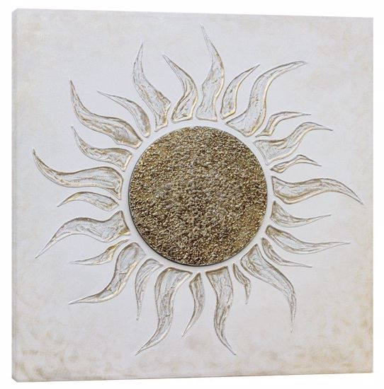 Picture of PINTDECOR SOLE BIANCO WALL ART PICKLED EMBOSSED CANVAS WITH SILVER FOIL DETAILS