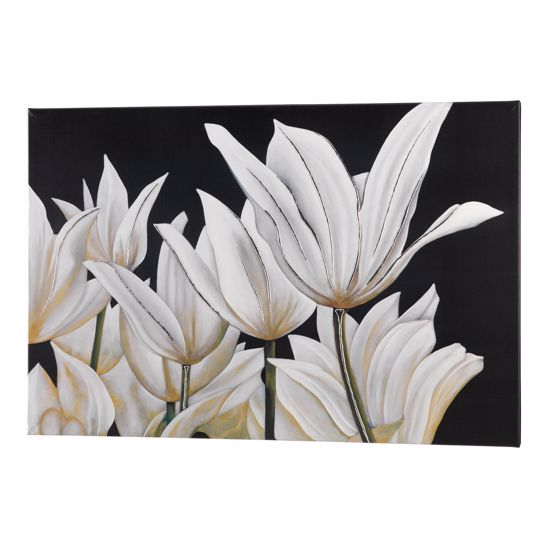 Picture of PINTDECOR TULIPANI WALL ART HAND-DECORATED BLACK CANVAS WITH EMBOSSED RESIN AND SILVER FOIL DETAILS