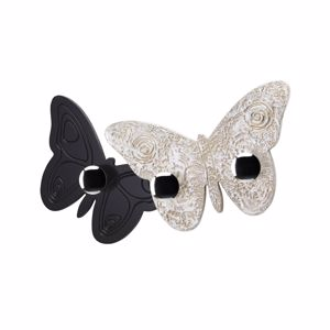 Picture of PINTDECOR MELITEA WALL COAT HANGER BUTTERFLY-SHAPED COFFEE LACQUERED AND HAND-DECORATED WITH SILVER FOIL DETAILS
