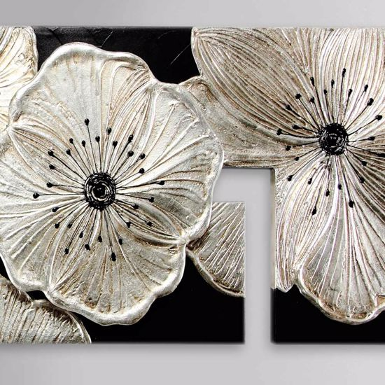 Picture of PINTDECOR PETUNIA ARGENTO BIG WALL ART 197X65 HAND-DECORATED WITH RESIN AND SILVER FOIL