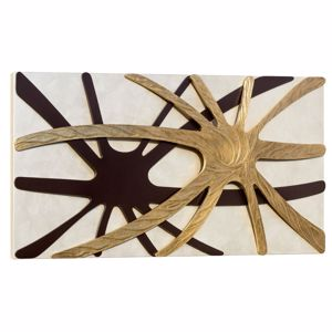 Picture of PINTDECOR SPIDER NACRE WALL ART WITH HAND-MADE ELEMENTS WITH GOLD FOIL AND COFFEE DETAILS ON PEARLY CANVAS