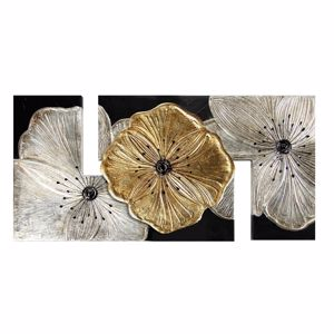 Picture of PINTDECOR PETUNIA ORO PICCOLA WALL ART 115X55 HAND-DECORATED WITH GOLD AND SILVER FOIL