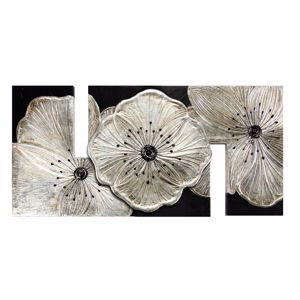 Picture of PINTDECOR PETUNIA ARGENTO PICCOLA WALL ART 115X55 HAND-DECORATED WITH SILVER FOIL