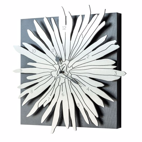 Picture of PINTDECOR POLINESIA WALL CLOCK BLACK CANVAS AND ALUMINIUM WITH ENGRAVING WITH BAS-RELIEF