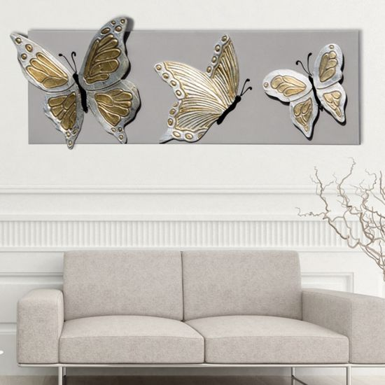 Picture of PINTDECOR BUTTERFLY DELUXE WALL ART HAND-DECORATED BUTTERFLIES ON DOVE GREY LACQUERED CANVAS