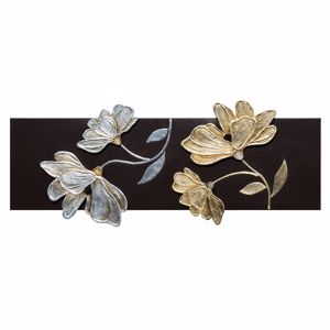Picture of PINTDECOR FIORI LUCENTI COFFEE LACQUERED CANVAS WITH HAND-DECORATED RESIN ELEMENTS