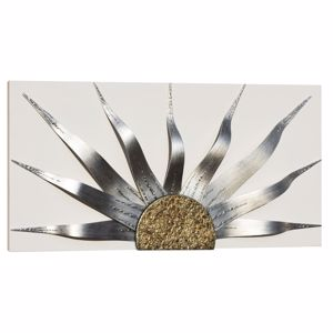 Picture of PINTDECOR SOLAR STORM SILVER MODERN WALL ART HAND-DECORATED IVORY CANVAS WITH SILVER AND GOLD FOIL DETAILS